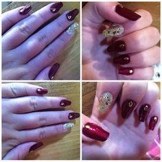 Autumn inspired | nail art | nail gems | glitter |