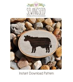 Cow Silhouette Cross Stitch Pattern Instant Download by Sewingseed, $4.00