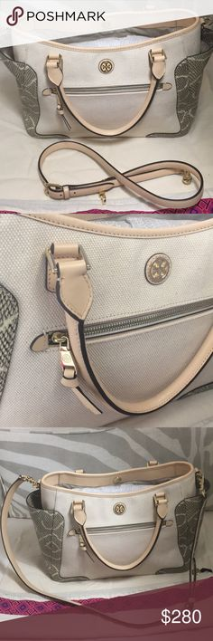 LIKE NEW TORY BURCH Tory Burch satchel bag in great condition straps are in also good condition can be used as a shoulder bag or crossbody bag! Very nice color goes with every style 💯 authentic bought this on New York. Selling these because me and my friend have the same one totally in Love with this bag! No dust bag or box included Tory Burch Bags Shoulder Bags