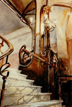 Staircase - detail, Maison Victor Horta, Brussels (Paul Dmoch Watercolours I) Architecture Art Nouveau, Art Nouveau Interior, Design Art Nouveau, Architecture Details, Interior Architecture, Escalier Art, Art Nouveau Arquitectura, Stairs And Doors, Well Images