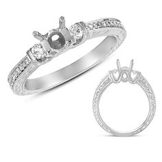 Beautiful!!  White Gold Engagement Ring-- Three Stone Setting with side engraving $2748 at diamondhouseaz.com