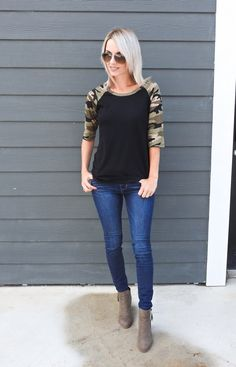 Casual fall outfit/style, camo top, skinny jeans, suede booties, tiaras and heels blog