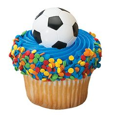 Dress up your party desserts by adding Soccer Ball Cake Rings into the tops. These Soccer Ball Cupcake Rings also serve as a fun favor for kids to wear. Soccer Cupcakes, Soccer Ball Cake, Soccer Party, Sports Party, Cake Supplies, Party Supplies, Decorating Tools, Cake Decorating, Ring Cake