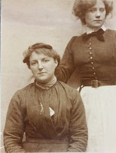 Leicester Borough Lunatic Asylum Photograph in a Case Book from 1911 of a patient (with nurse in the background)