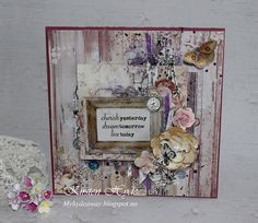My Craft and Garden Tales: Mixed media card published in Ett trykk with Prima's Butterfly collection