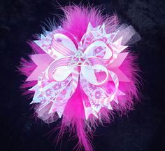 Pink Princess Bling Hair Bow W/Feather