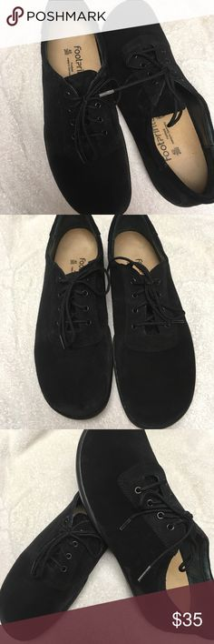 Birkenstock footprints shoes size 9 Birkenstock footprints laces shoes size 40  excellent condition color black leather suede Birkenstock Shoes Flats & Loafers