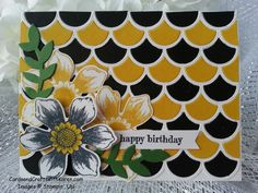 Black & Gold Birthday card using Stampin Up Striped Scallop Thinlit Die and Beautiful Bunch stamp set.