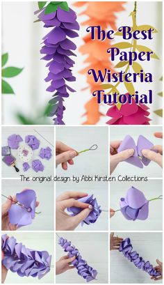 How to make paper flower wisteria - step by step wisteria tutorial. The original design by Abbi Kirsten Collections. Paper Flowers Craft, Paper Crafts Origami, Flower Crafts, Diy Flowers, Diy Paper, Hanging Paper Flowers, Paper Crafting, Decoration Vitrine, Flower Template