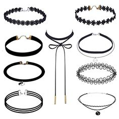 7f7cd203f Outee 9 Pieces Black Velvet Chokers Necklaces
