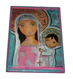 Mary with Rosary  Giclee print mounted on Wood  Made by FlorLarios, $35.00