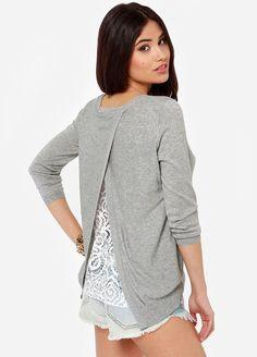 Precioso!!! Jersey cuello pico encaje-gris 13.93