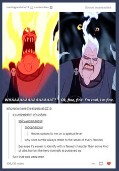 """Funny, then suddenly deep: why fandoms sometimes identify with the """"satan"""" figure instead of the hero. Disney And Dreamworks, Disney Pixar, Walt Disney, Disney Love, Disney Magic, Disney Stuff, Tumblr Funny, Funny Memes, Hilarious"""