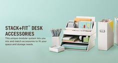 New line of desk accessories from Martha Stewart. White, aqua, and brown. Pretty!