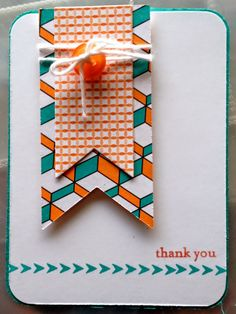 handmade card from Crafty Nurses Stamp! ... clean lines ... bright colors ... orange and teal with white ... like the double fishtail banner made from two different patterned papers ... Stampin'Up!