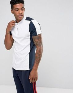 Buy ASOS Polo Shirt With Contrast Panelling And Zip Neck In White at ASOS. Get the latest trends with ASOS now. Polo Shirt Style, Polo Shirts, Long Sleeve Polo, Long Sleeve Shirts, Burton Menswear, Moda Fitness, Shirt Price, Contrast, Shirt Designs