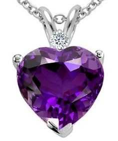 Tommaso Design(tm) 8mm Heart Shape Genuine Amethyst and Diamond Heart Pendant...Find this and more elegant jewelry at www.yournewstyles.com #jewelry #woman jewellery
