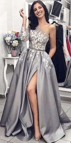 One-Shoulder Satin Long Sleeve A-Line Slit Applique Prom Dresses, FC1832 #prom #promdress #2019prom #promdresses #eveningdresses