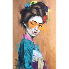 Yěhuā - Acrylic and spray on 6ft x 4ft wood panel. Model/muse @hiyaimnicole. #findac #urbanaesthetics #urbanart #urbancontemporary #urbancontemporaryart #chinesetraditionaldress #Chinese  #hanfu