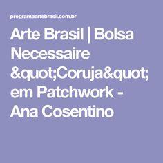 "Arte Brasil   Bolsa Necessaire ""Coruja"" em Patchwork - Ana Cosentino"