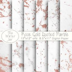 Rose Gold Marble Digital Paper. Gorgeous White Marble Lightly Dusted with Rose Gold by TheWaterJar on Etsy