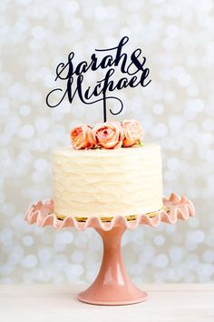 Wedding Cake Topper Custom Names Gold by BetterOffWed on Etsy
