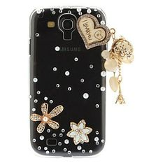 Samsung Galaxy S4 i9500 Stylish Flower & Heart Artificial Pearl Plastic Transparent Back Case Cover - Cool Samsung Galaxy S4 Cases - Galaxy ...