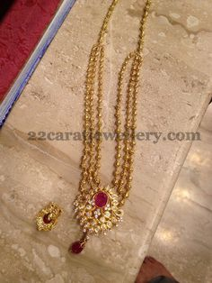 Jewellery Designs: Gundu Necklace with CZ Locket
