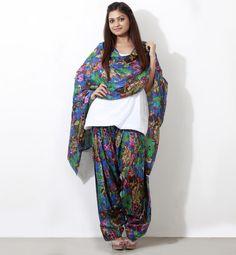 Blue printed salwar with dupatta
