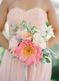 Pink Garden-Inspired Bridesmaid Bouquet   Caroline Tran Photographer   Flowers: Saipua   www.theknot.com