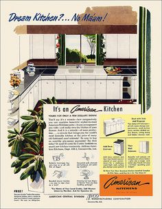 Speaking of patriotism, everyone should want their kitchen built like a steel tank. From the March issue of The American Home magazine. Home Design, House Design Photos, Design Room, Old Kitchen, Vintage Kitchen, 1940s Kitchen, Retro Kitchens, Kitchen Ideas, Kitchen Decor