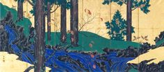 Left screen. 「夏秋渓流図屏風 左」Suzuki Kiitsu 鈴木其一. ca.1840. Mountain Stream in Summer and Autumn 夏秋渓流図. pair of Japanese folding screens. Nezu Museum.