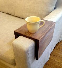 """Reclaimed Wood Couch Arm Table- seal with  silicone and add a 1/2"""" lip in case of spills."""