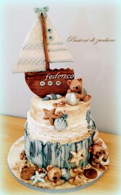 Nautical Baby Cake Baby Boy Cakes, Cakes For Boys, Baby Shower Cakes, Fancy Cakes, Cute Cakes, Fondant Cakes, Cupcake Cakes, Marine Cake, Teddy Bear Cakes