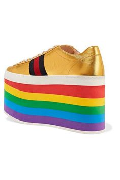 Gucci - Metallic Leather Platform Sneakers - Gold - IT38.5