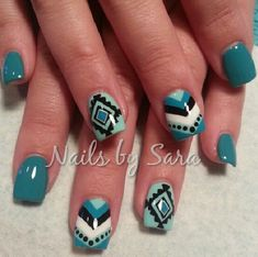 native american nail art designs | Acrylic nails with Native American symbol on it