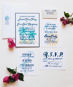 Fun, whimsy invitations: http://www.stylemepretty.com/california-weddings/2015/02/22/mad-men-themed-palm-springs-wedding/ | Photography: Marissa Maharaj - http://www.marissamaharaj.com/