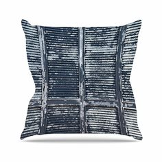 KESS InHouse SS2041AOP03 18 x 18-Inch 'Susan Sanders Rustic Blue Shutters Nautical White' Outdoor Throw Cushion - Multi-Colour -- Find out more at the image link. #GardenFurnitureandAccessories