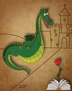 Adorable dragón lector :)