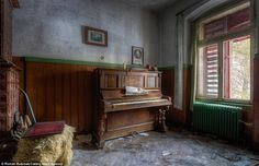 In the future, Robroek plans to continue exploring and photographing pianos whenever he comes across them. Pictured: Sheets of music still remain on an abandoned instrument