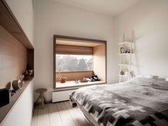 和テイストのあるカナダのベッドルームの出窓
