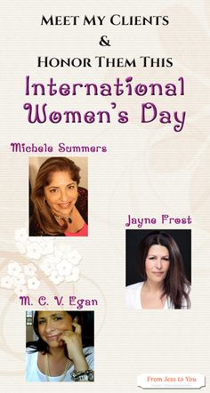 Happy International Women's Day! Check out these wonderful authors and clients of mine :: https://fromjesstoyouservices.wordpress.com/2017/03/08/meet-my-clients-international-womens-day-2017/  @michelesummers5 @jaynefrostbooks  #MicheleSummers #JayneFrost #MCVEgan
