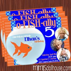 Goldfish Party Invitation-Fish Birthday Invitation PDF/JPEG
