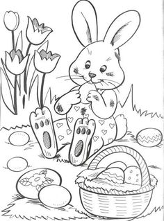 jön a nyuszi Easter Coloring Sheets, Easter Colouring, Coloring Book Pages, Coloring Pages For Kids, Easter Pictures, Easter Activities, Colorful Drawings, Digi Stamps, Spring Crafts