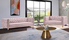 Glam Pink Velvet Tufted Sofa Set 2Pcs MICHELLE Meridian Contemporary Modern