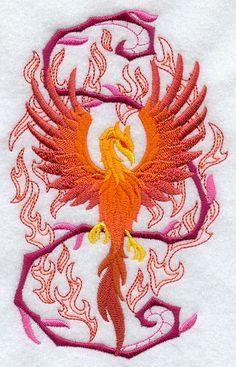 Phoenix Rising Harry Potter Merlin Embroidered Flour Sack Hand/Dish Towel