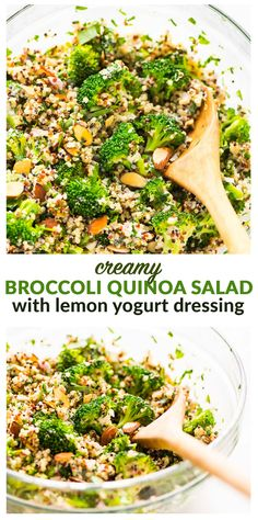 Creamy Broccoli Quinoa Salad with Greek Yogurt Lemon Dressing. Healthy and protein packed! Perfect for make ahead meals, light lunches, and potluck side dishes. {gluten free} Recipe at wellplated.com | @wellplated