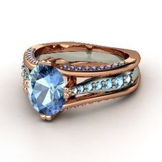 Concerto Ring, Oval Blue Topaz Rose Gold Ring with Sapphire