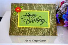 Handmade card Birthday Card Green color by ArtNCraftsCorner