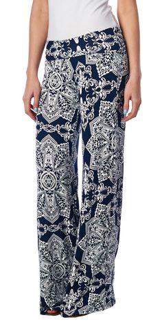 Popana Damask Palazzo Pants - Made In USA at Amazon Women's Clothing store: